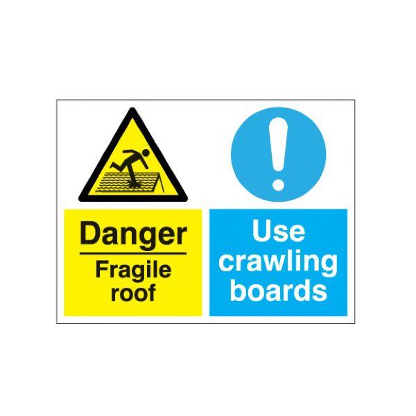 Danger fragile roof/crawling boards