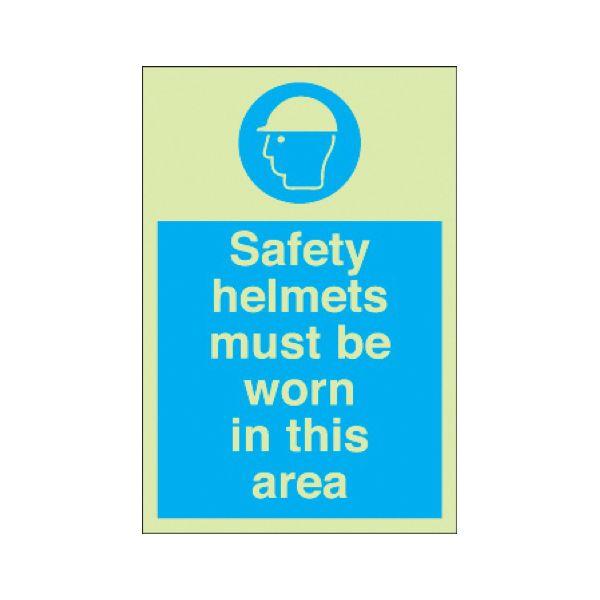 Safety helmets must be worn Photoluminescent