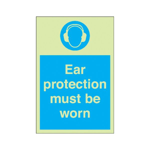 Ear protection must be worn Photoluminescent