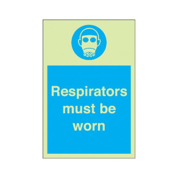 Respirators must be worn Photoluminescent
