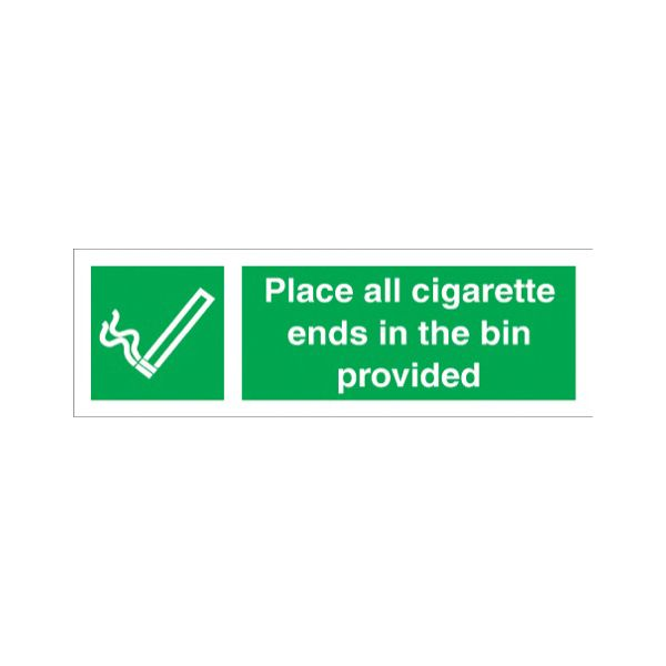 Place all cigarette ends in bin provided