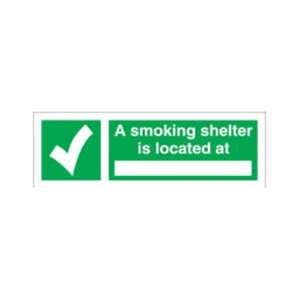 A smoking shelter is located at