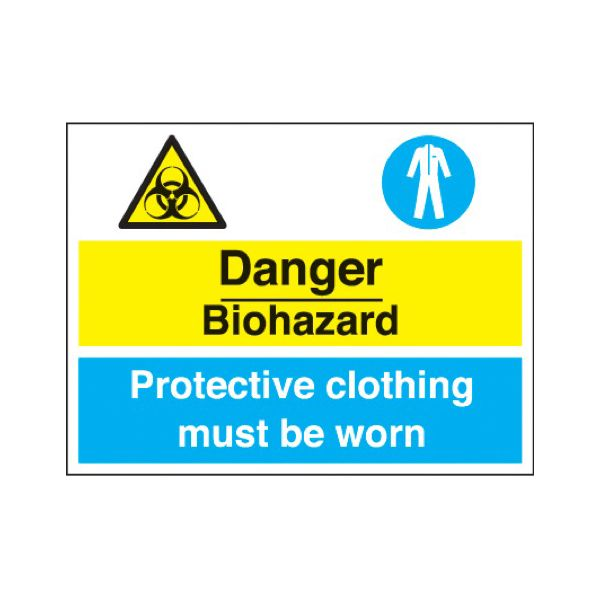 Danger biohazard - prot. clothing must be worn