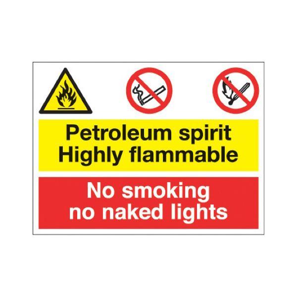 Petroleum spirit/no smoking naked light