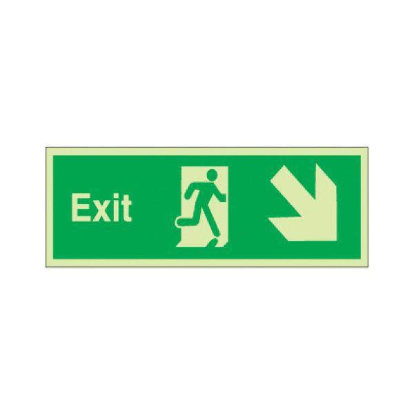 Exit arrow diag down right Photoluminescent