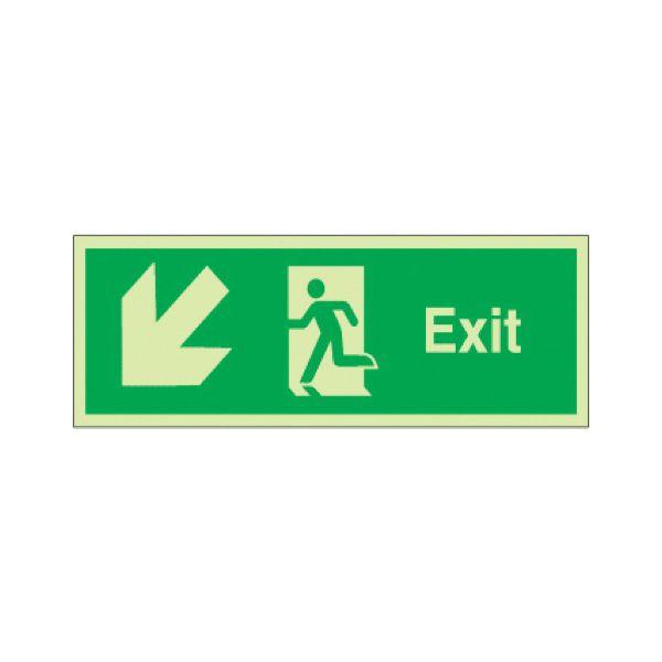 Exit arrow down diag left Photoluminescent