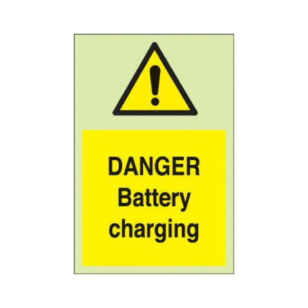 Danger battery charging Photoluminescent