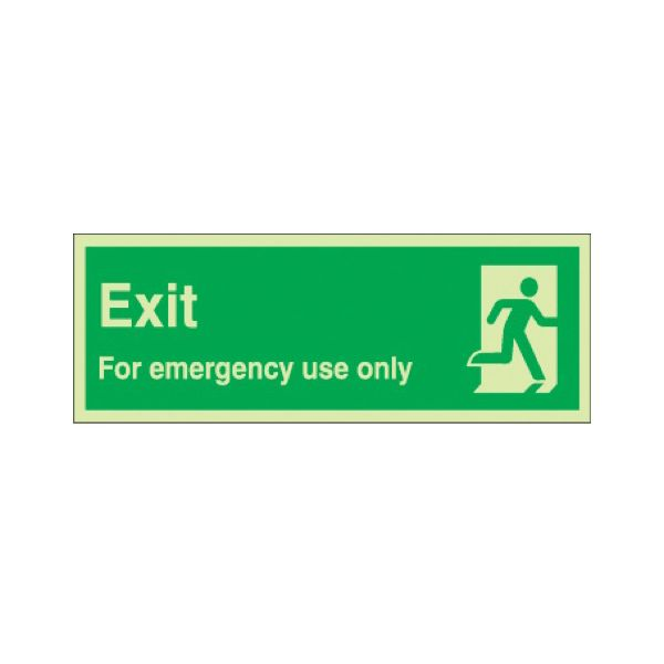 Exit for emergency use only Photoluminescent