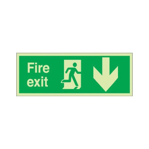 Fire exit running man rignt arrow down Photoluminescent