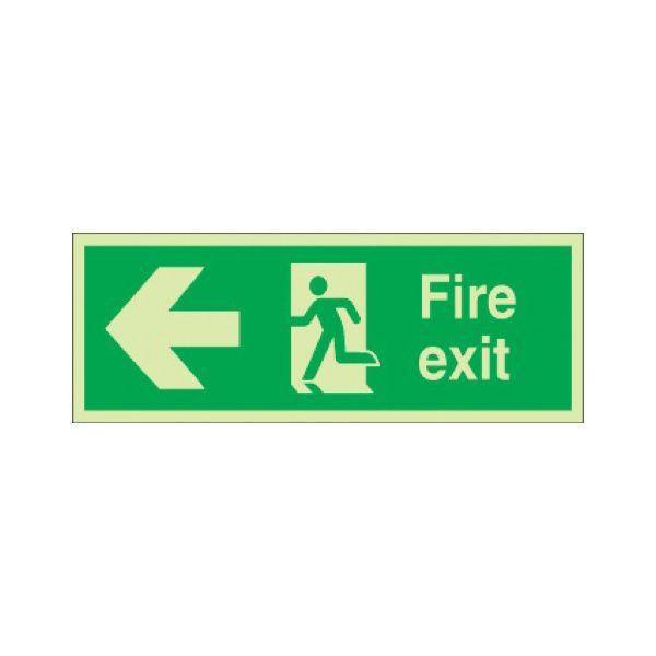 Fire exit running man/arrow left Photoluminescent