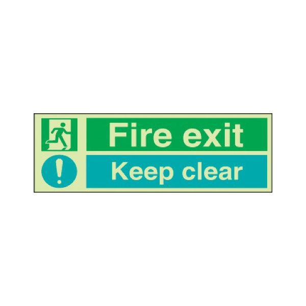 Fire exit keep clear Photoluminescent