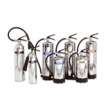 Polished Metal Fire Extinguishers